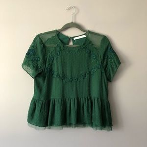 ♥️ ZARA Embroidered Lace Babydoll Blouse